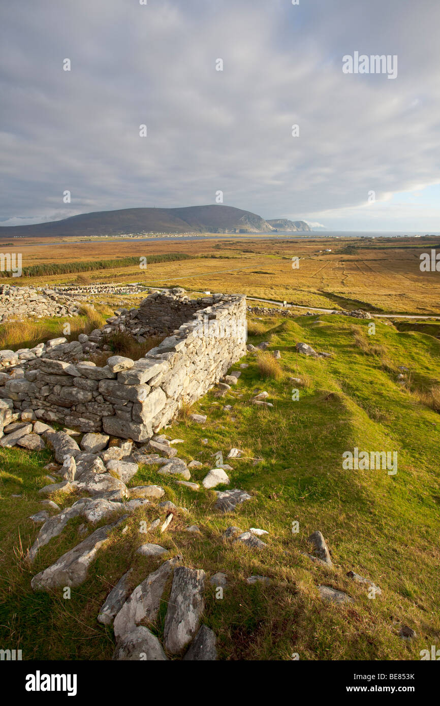 The deserted village in slievemore on achill Island in Galway Ireland. - Stock Image
