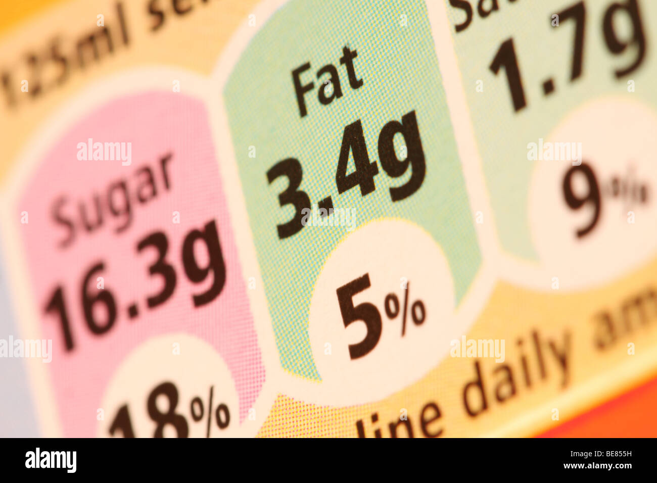 Fat content processed food label contents on food packaging labeling - Stock Image