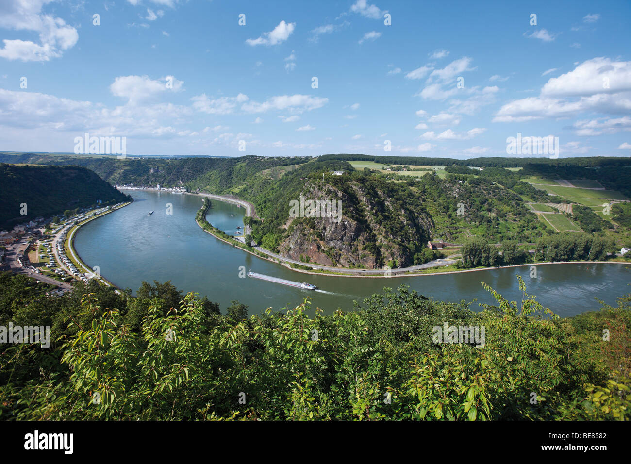 The course of the Rhine in front of Loreley rock, Rhineland-Palatinate, Germany, Europe Stock Photo