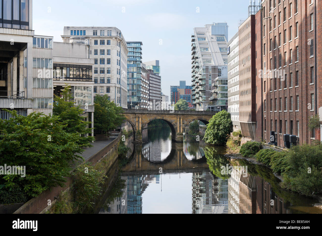 River Irwell from Victoria Bridge in the city centre, Manchester, England, UK - Stock Image