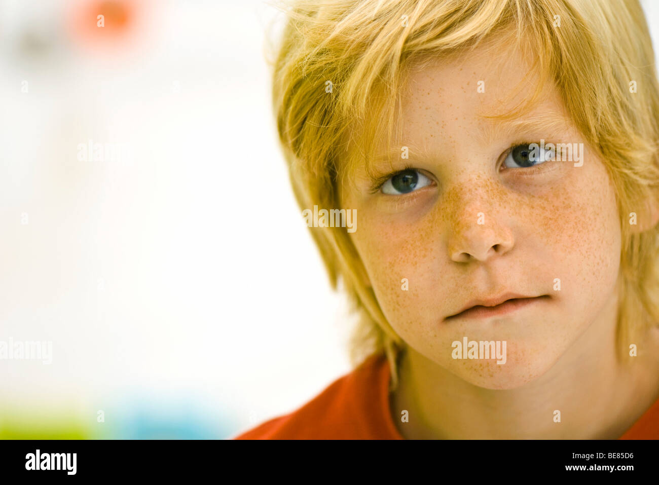 Boy with look of disappointment - Stock Image
