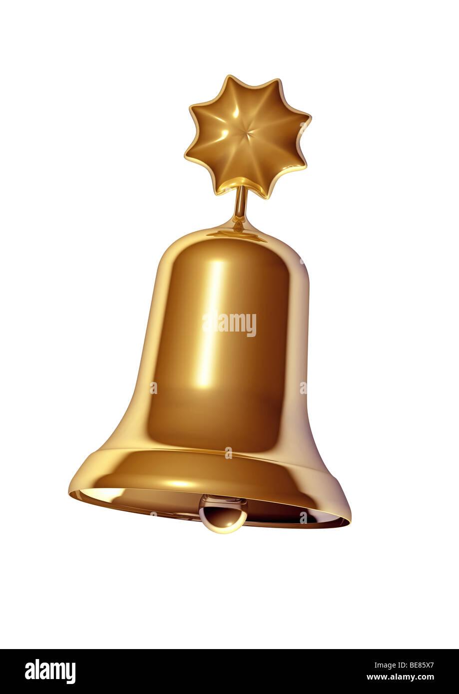 Golden Christmas Bell on White Background - Stock Image