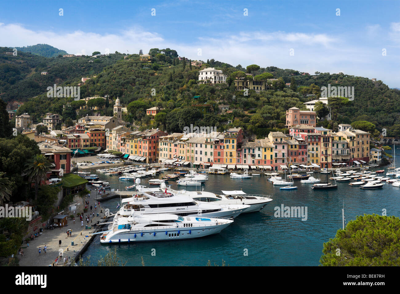 Luxury yachts in the harbour at Portofino with the town behind, Italian Riviera, Liguria, Italy - Stock Image