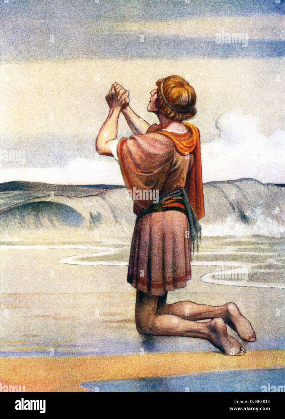 In the Odyssey, Telamachus knelt where the water broke on land and asked the gods for help finding his father, Odysseus. - Stock Image