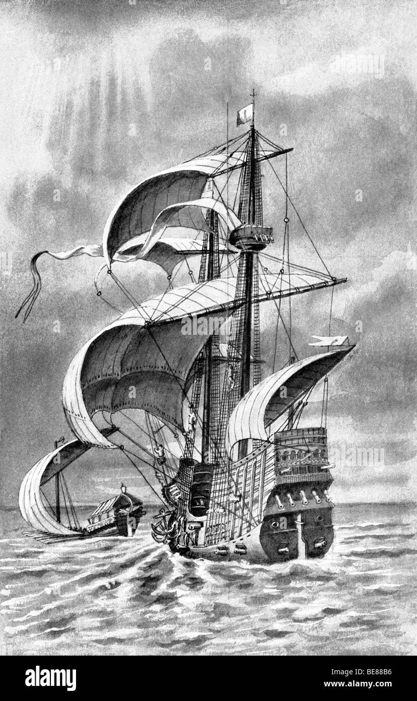 This 1910 illustration shows a 1500s Dutch warship, with new advances in ship design: more deck space and more gun - Stock Image