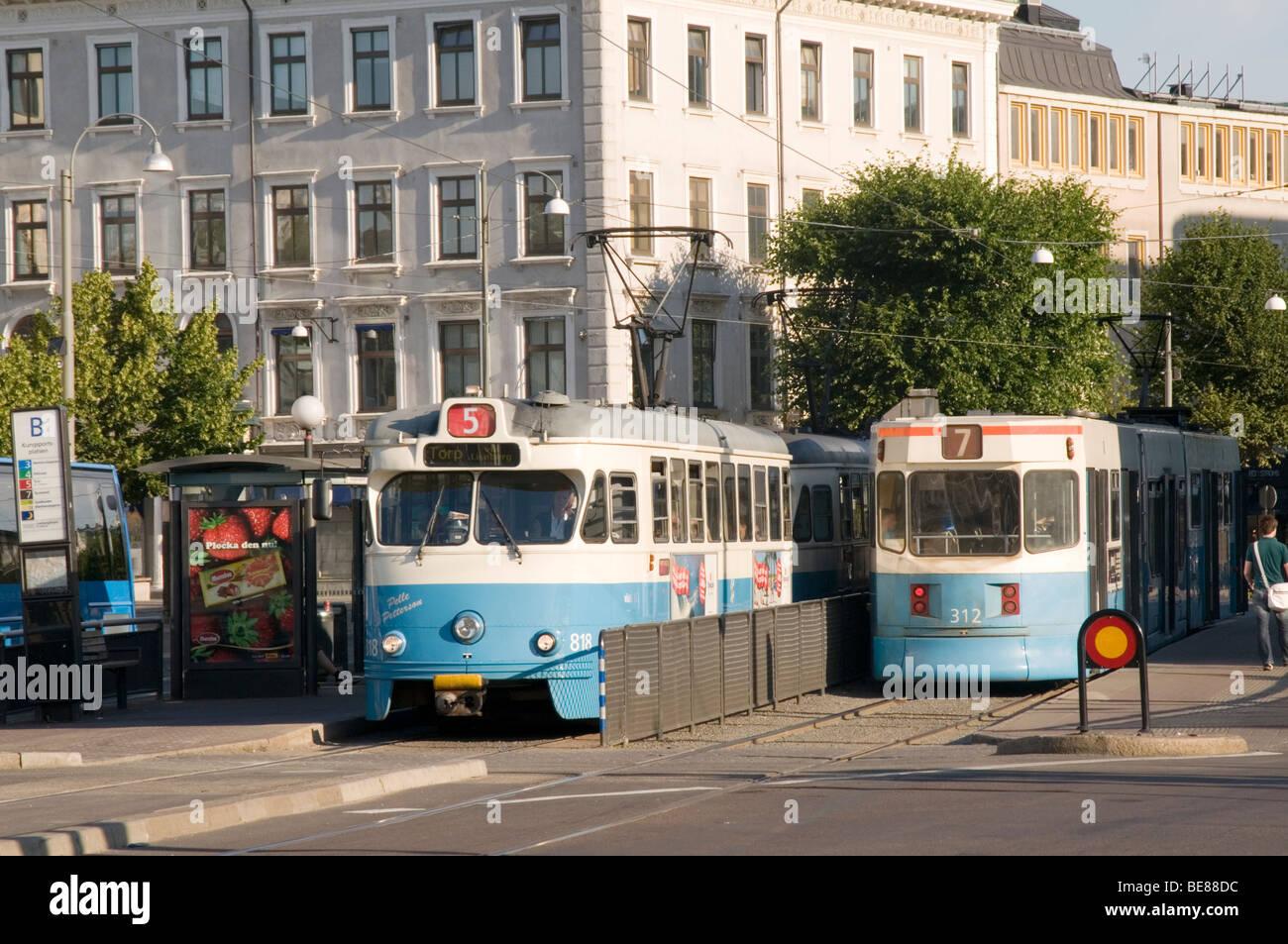 tram trams system public transport gothenburg Göteborg sweden swedish city sverige street town streets transportation - Stock Image