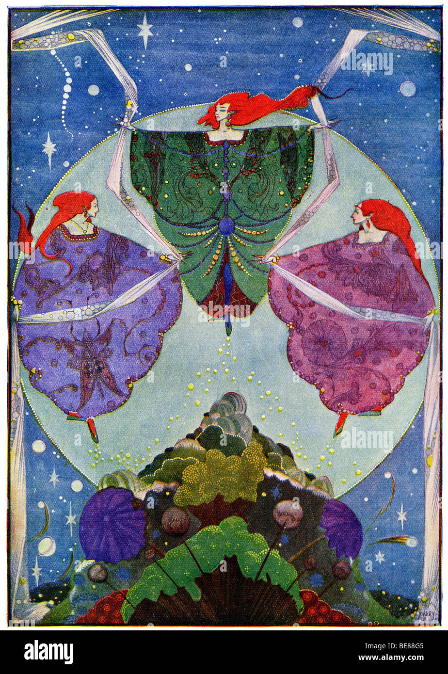 Harry Clarke Art Nouveau Print Illustration Fairy Tales from Hans Andersen first  by Coker & Co 1919 from the  FOR Stock Photo
