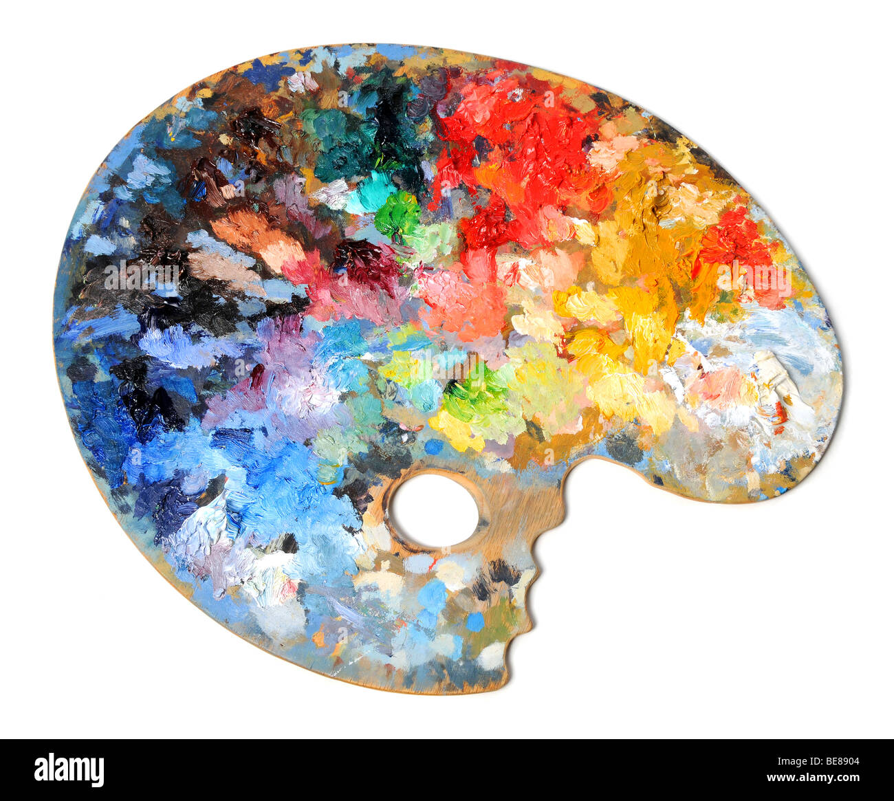 Artist palette with different colors isolated over white background - Stock Image