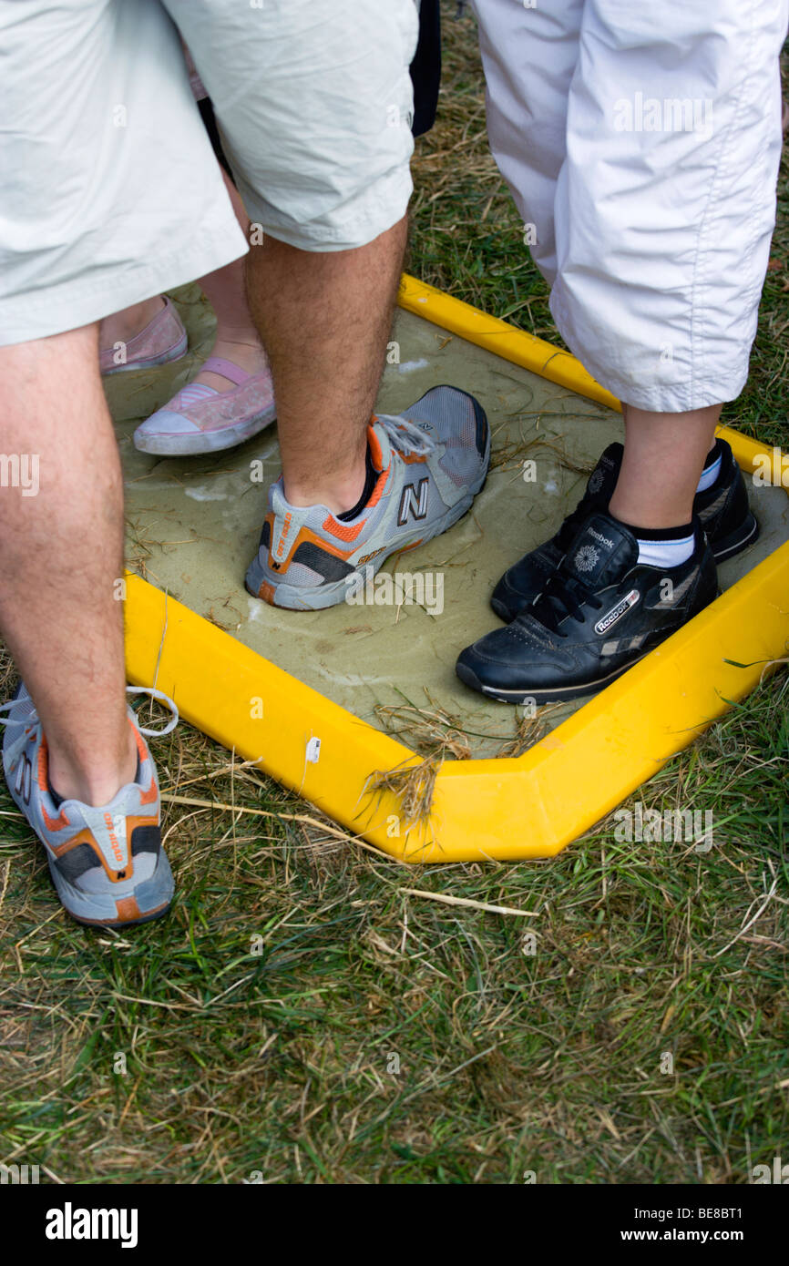 ENGLAND West Sussex Findon Village Sheep Fair People walking through foot bath at Bio Security Point to prevent - Stock Image