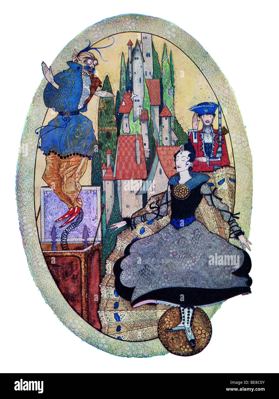 Harry Clarke Art Nouveau Print Illustration Fairy Tales Hans  Andersen first Coker & Co 1919 THE HARDY TIN SOLDIER Stock Photo