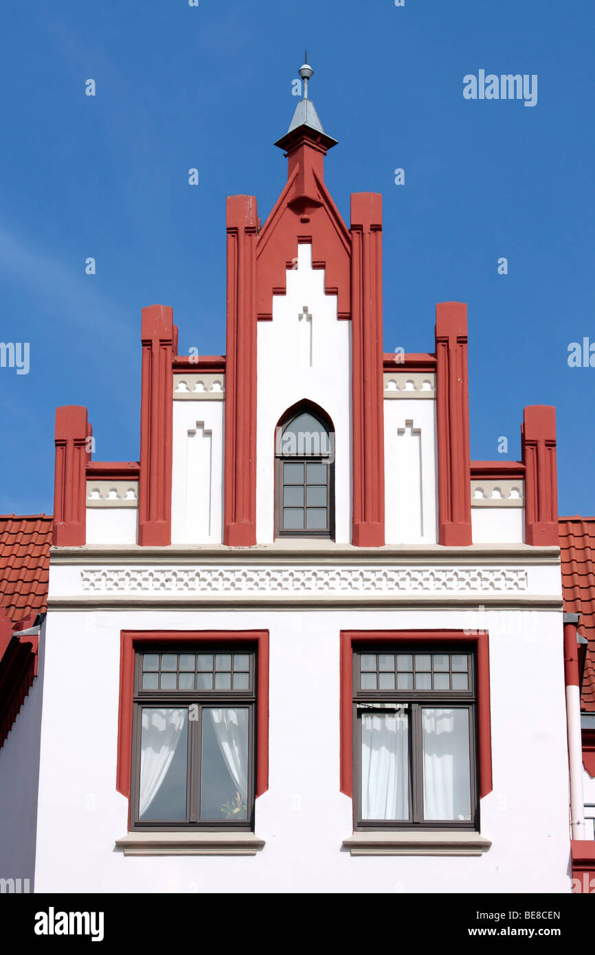 Gabled house on the market square of the Hanseatic city of Wismar, UNESCO World Heritage Site, Mecklenburg-Western - Stock Image