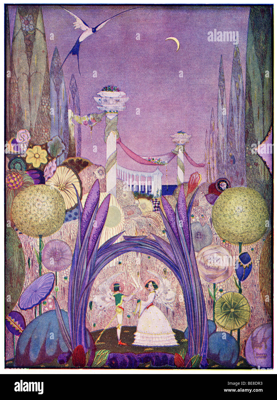 Harry Clarke Art Nouveau Print Illustration Fairy Tales from  Hans  Andersen first  Coker Co 1919 from THUMBELINA - Stock Image