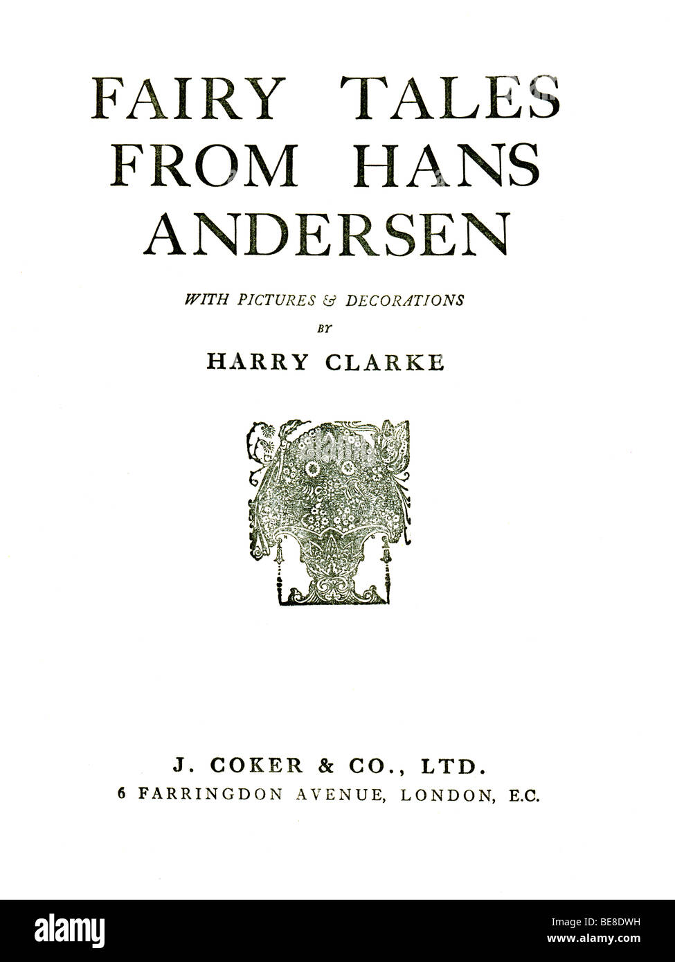 Hardback Book Hans Andersen 's Fairy Tales published by by J Coker & Co of London c 1930  FOR EDITORIAL USE ONLY Stock Photo