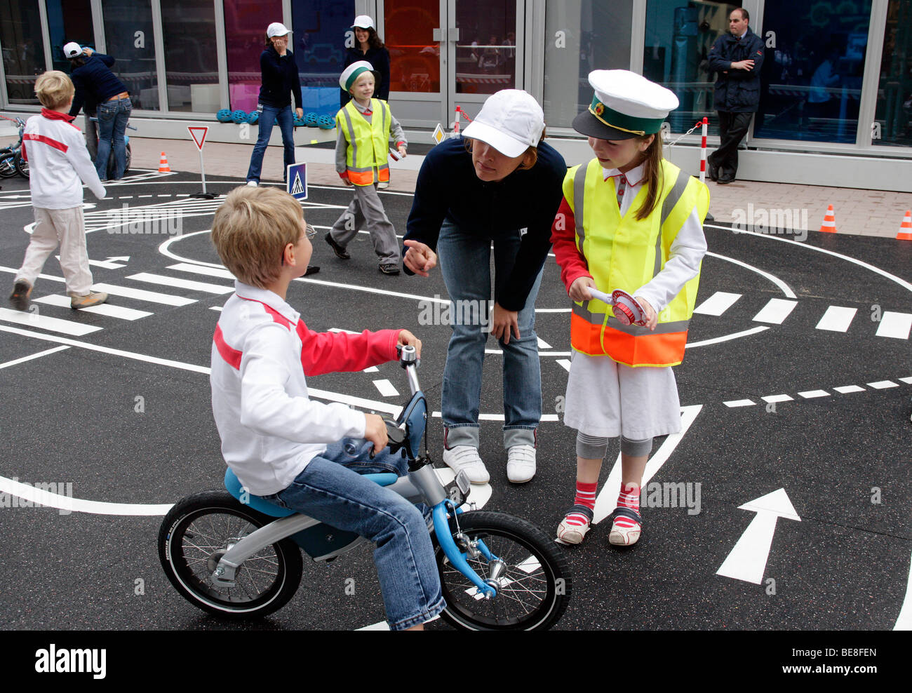 Children learning traffic rules at the 63th IAA International Motor Show Frankfurt/Germany - Stock Image
