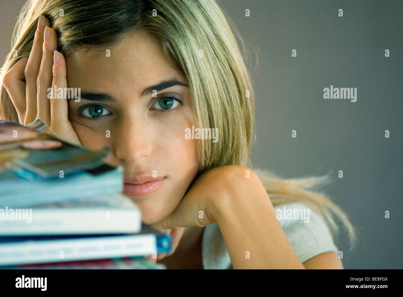 College student taking break from studies - Stock Image