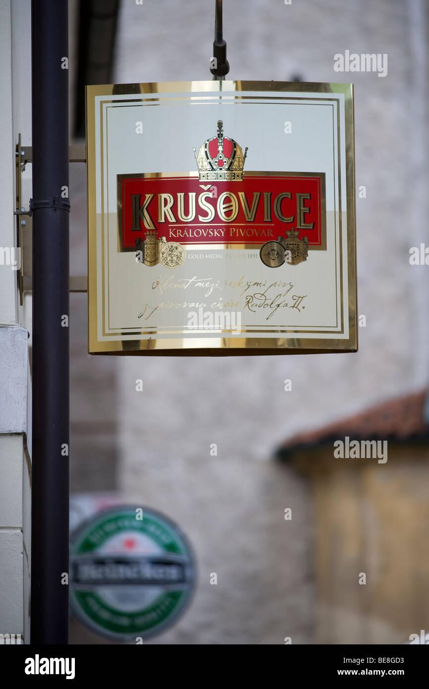 Beer ads, Ceske Budejovice, Budweis, South Bohemia, Czech Republic, Europa - Stock Image