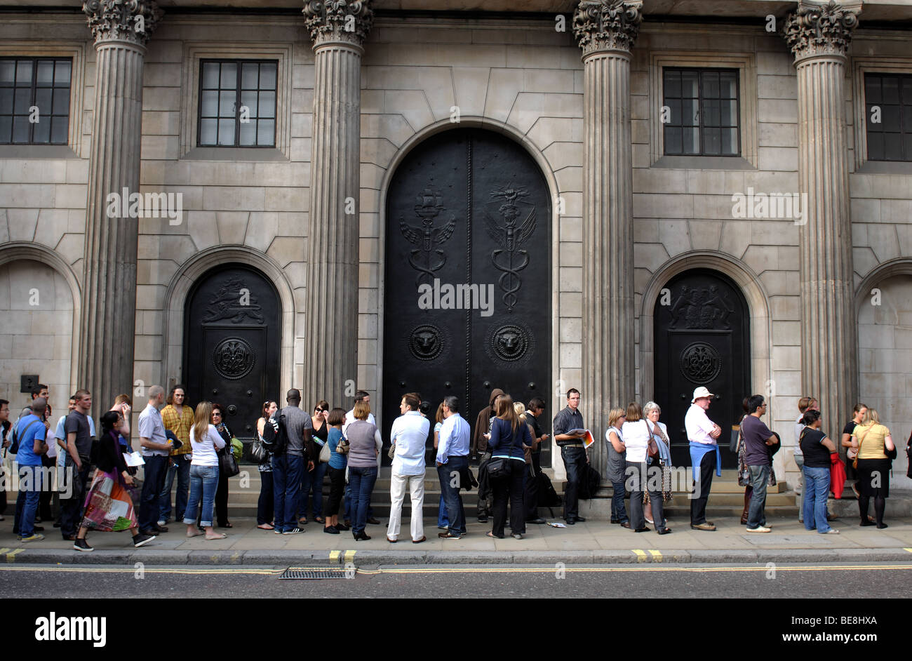 Queue outside Bank of England during Open House weekend, London, England, UK - Stock Image