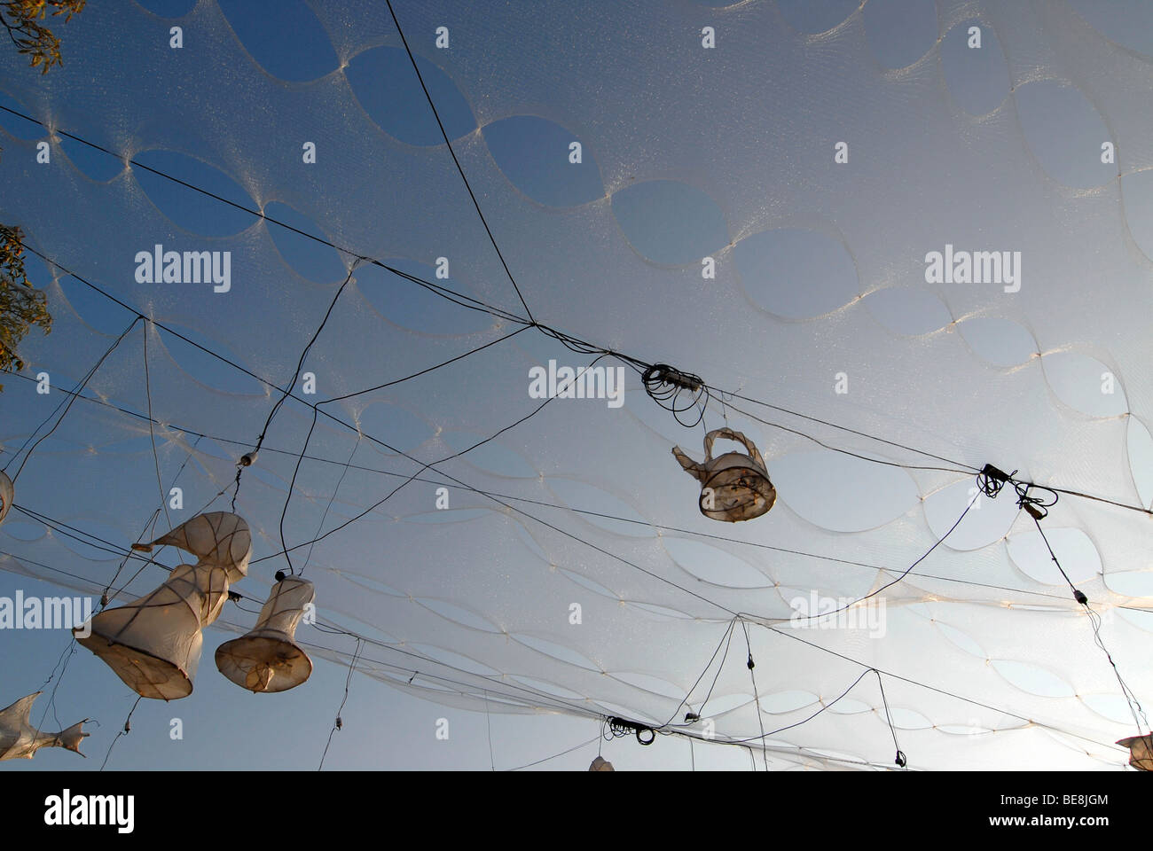 installation made of christmas tree netting power cables and light objects against a blue summer sky radebeul wine festival