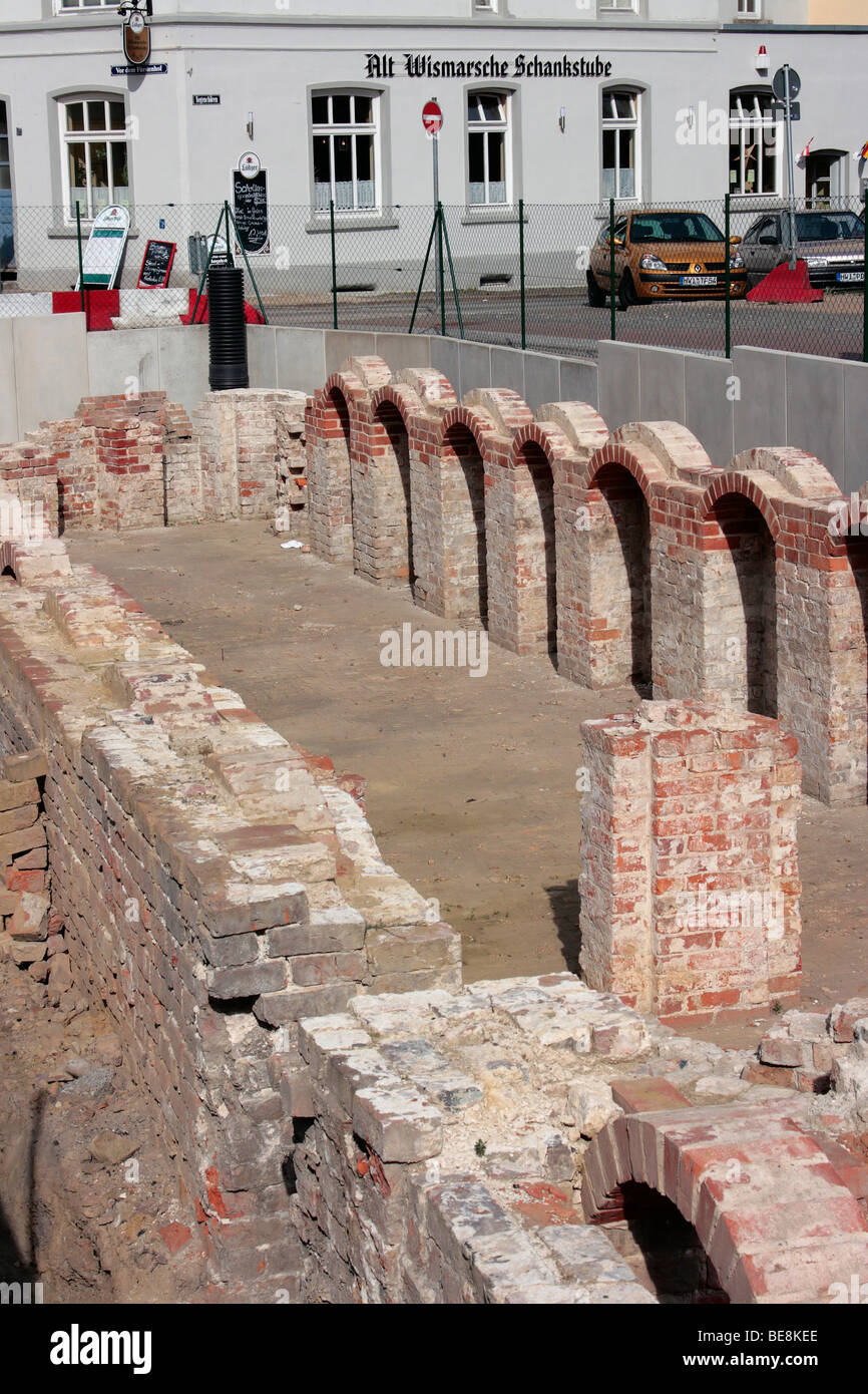 Archaeological excavation of an old brick building in the Hanseatic city of Wismar, UNESCO World Heritage Site, Stock Photo