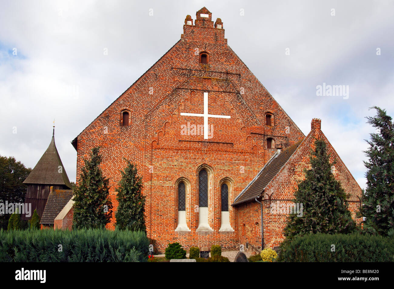Historic St. Peter's Church in Landkirchen with a separate bell tower, rear view, Fehmarn Island, Ostholstein - Stock Image