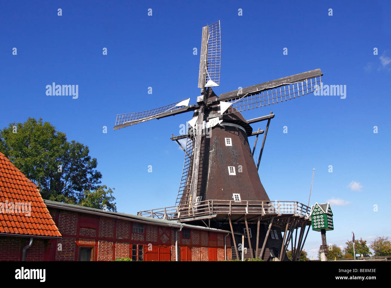 Old windmill, Windmill Museum in Lemkenhafen, Fehmarn Island, Baltic Sea island, Ostholstein district, Schleswig - Stock Image