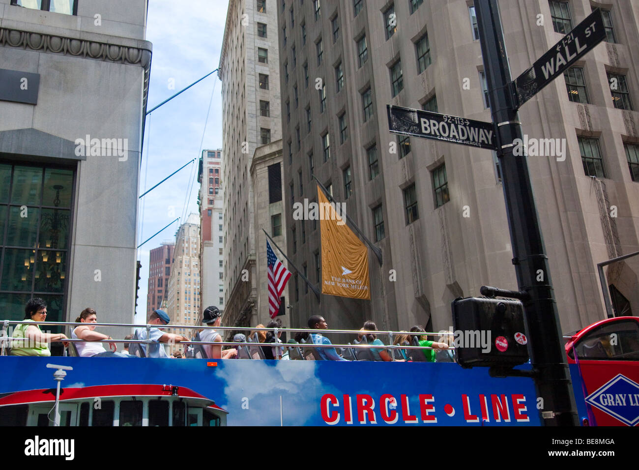Tourist City Sightseeing Bus in the Financial District in Manhattan, New York CIty Stock Photo