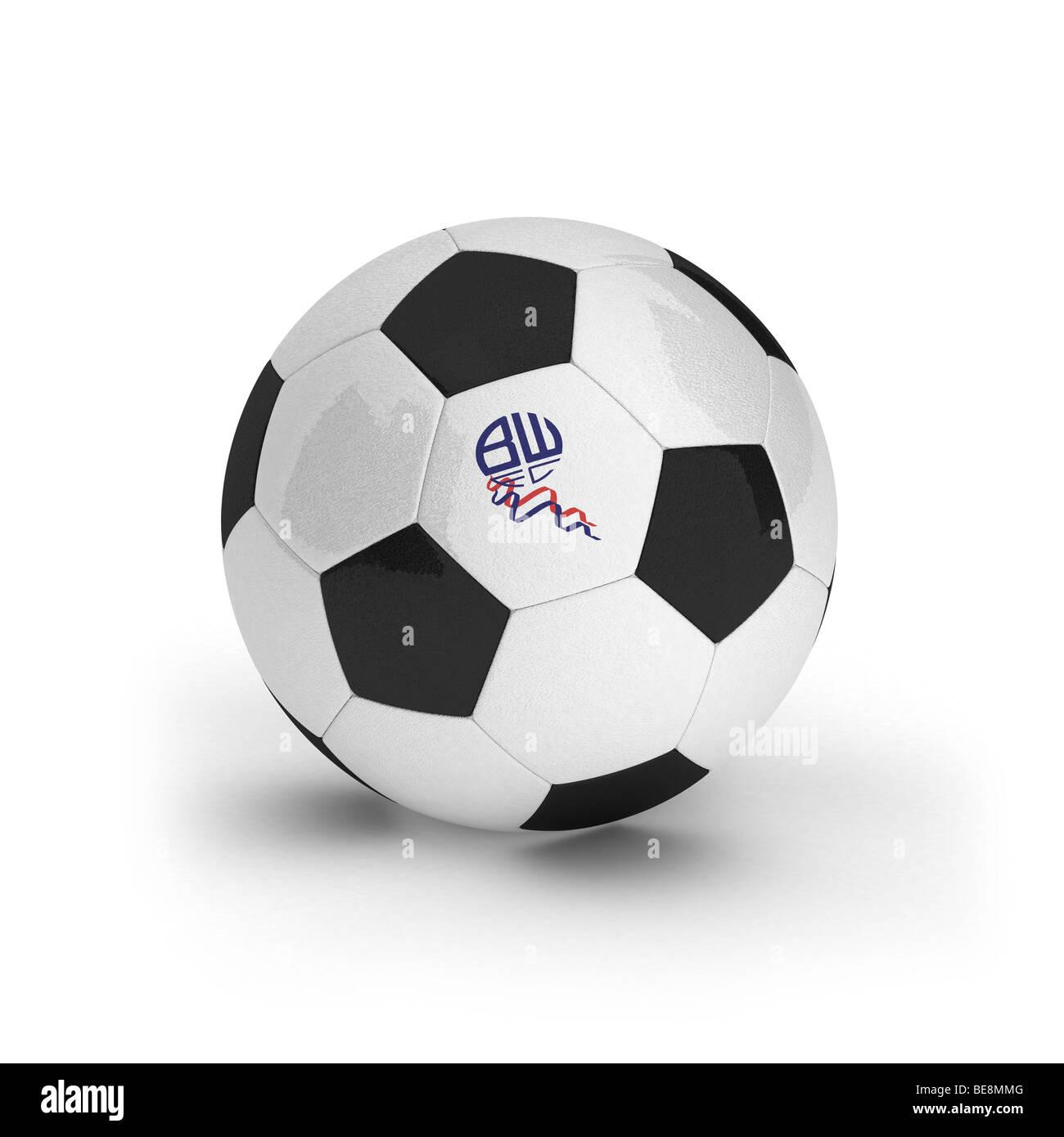 Bolton Wanderers Football Club emblem on a soccer ball - Stock Image