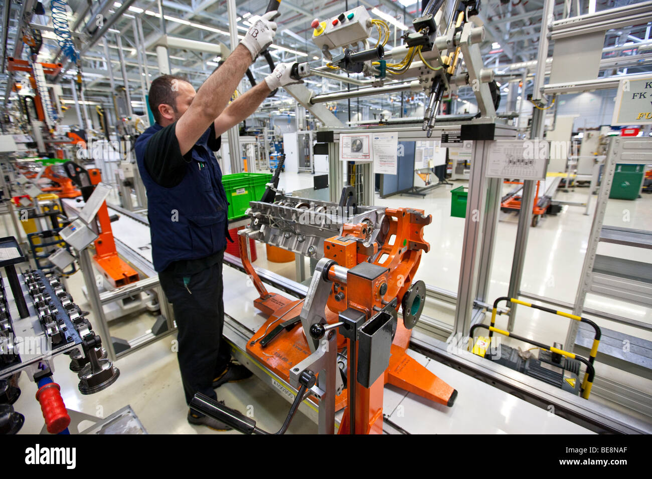 Production of Aston Martin V12 motors, Aston Martin engine plant in Cologne, Rhineland-Palatinate, Germany, Europe - Stock Image