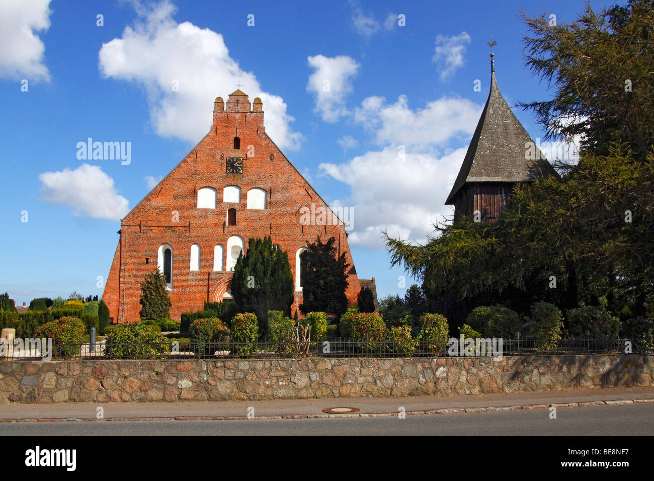 Historic St. Peter's Church in Landkirchen with a separate bell tower, Fehmarn Island, Ostholstein district, - Stock Image
