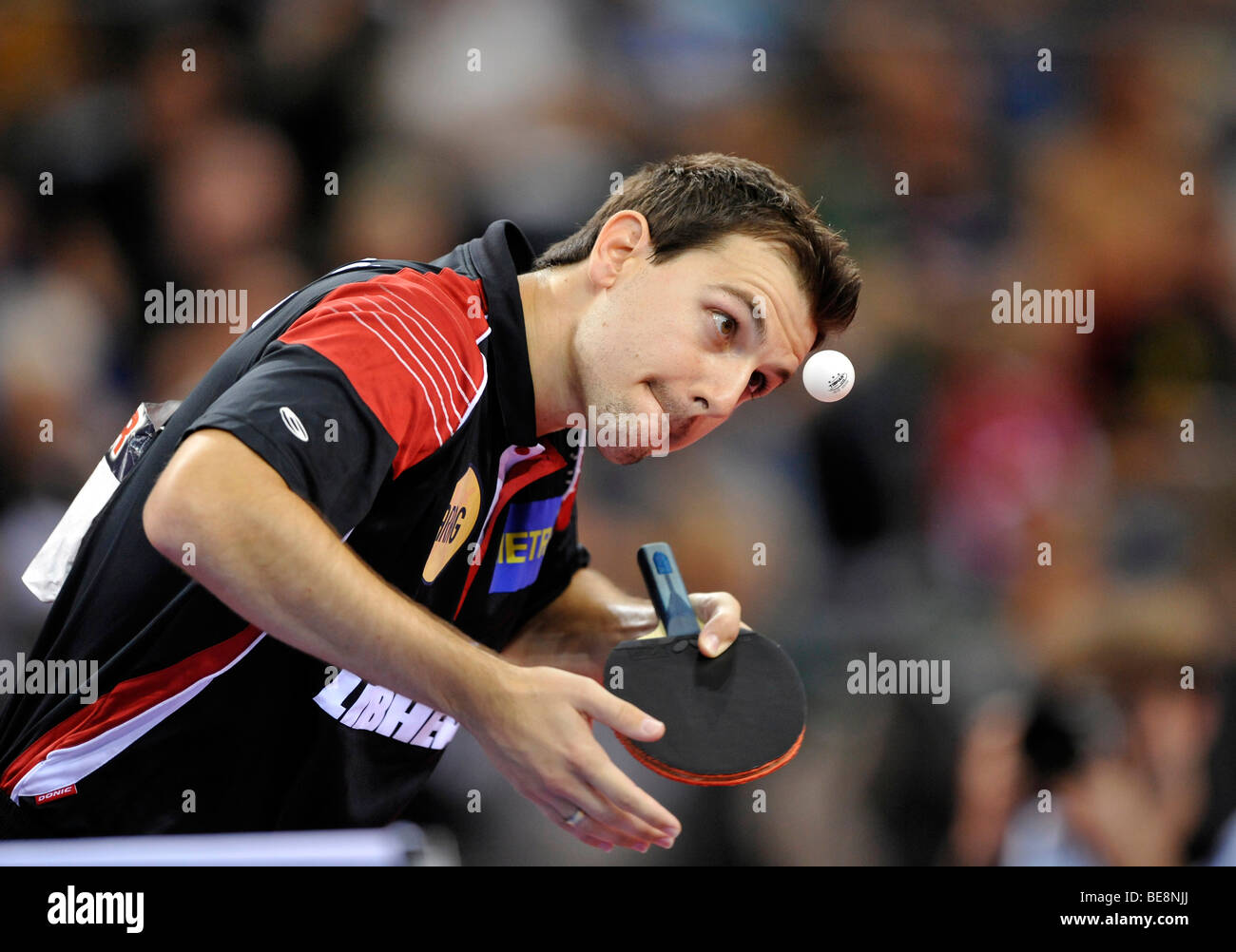 Multiple European champion in singles, doubles and team Timo Boll, Germany, table tennis EM 2009, Porsche-Arena, - Stock Image