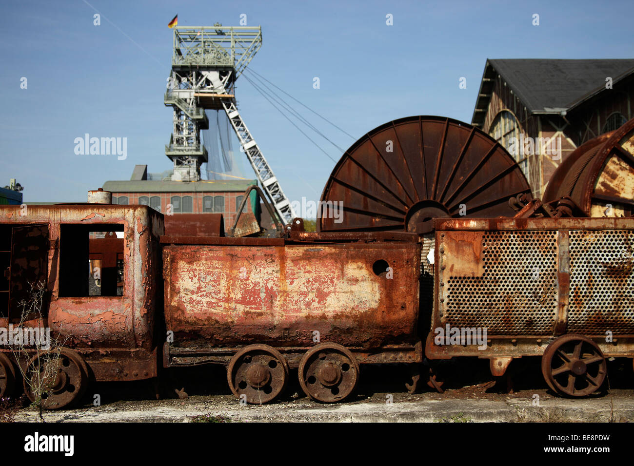 Old coal train of the Zeche Zollern mine in Dortmund, part of the Route of Industrial Culture through the Ruhr area - Stock Image