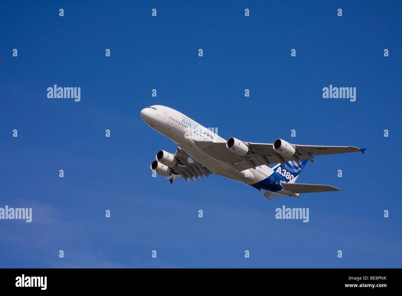 Airbus A380 flying over Hamburg-Finkenwerder, Hamburg, Germany, Europe - Stock Image