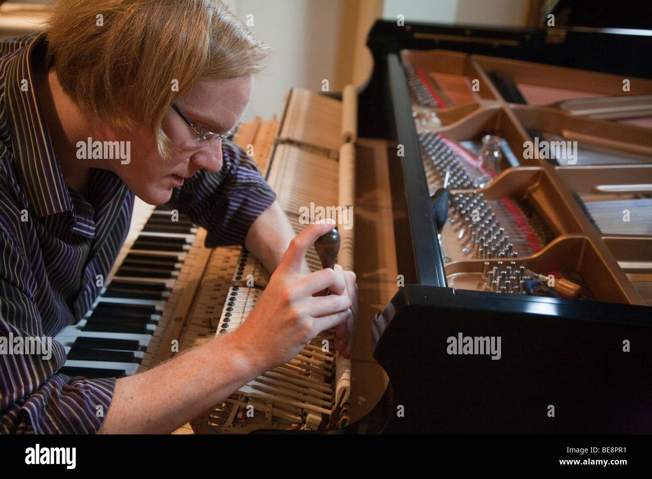 Piano tuner works on a grand piano - Stock Image