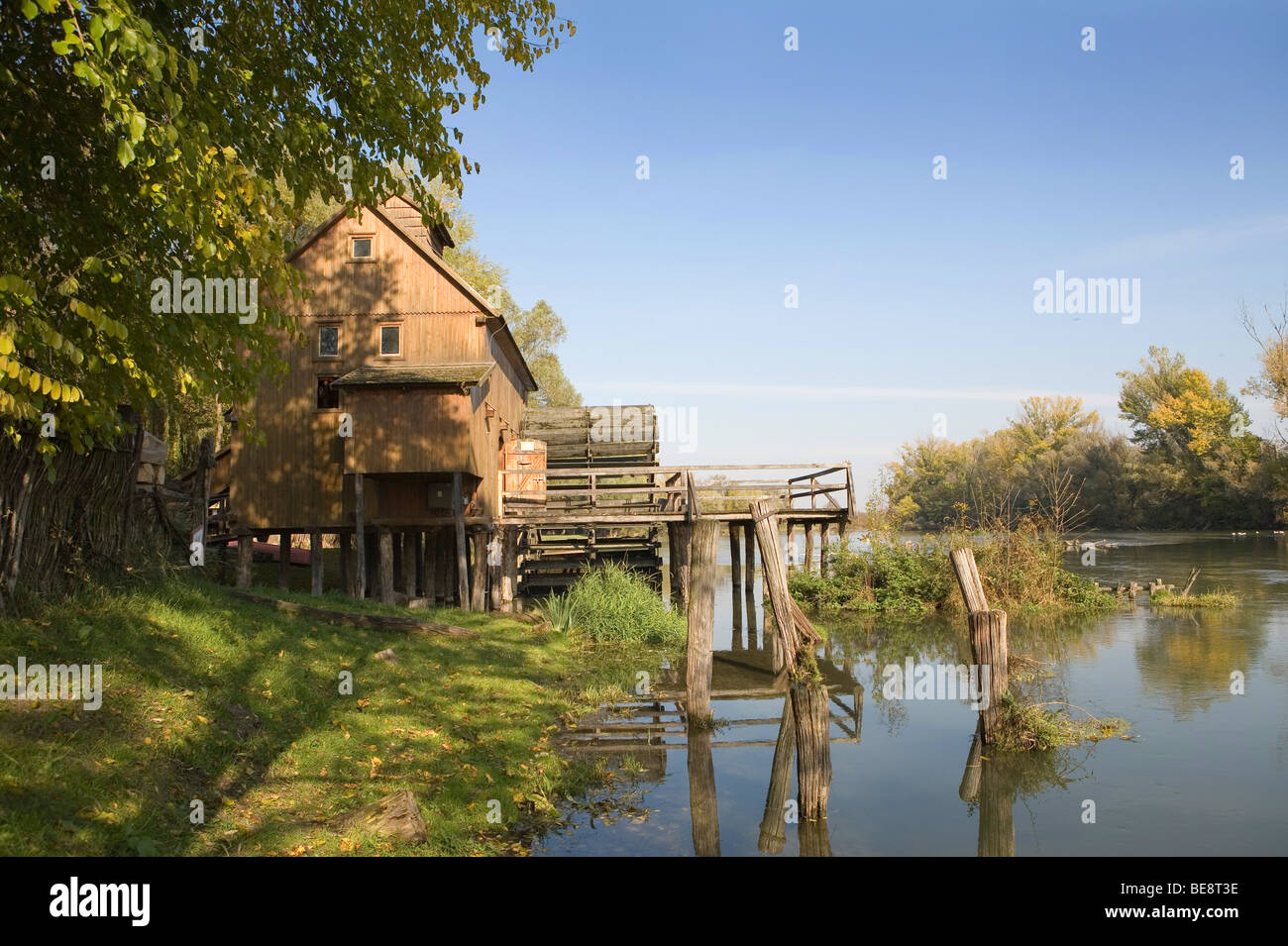 Wooden water mill in Jelka,. Slovakia. - Stock Image