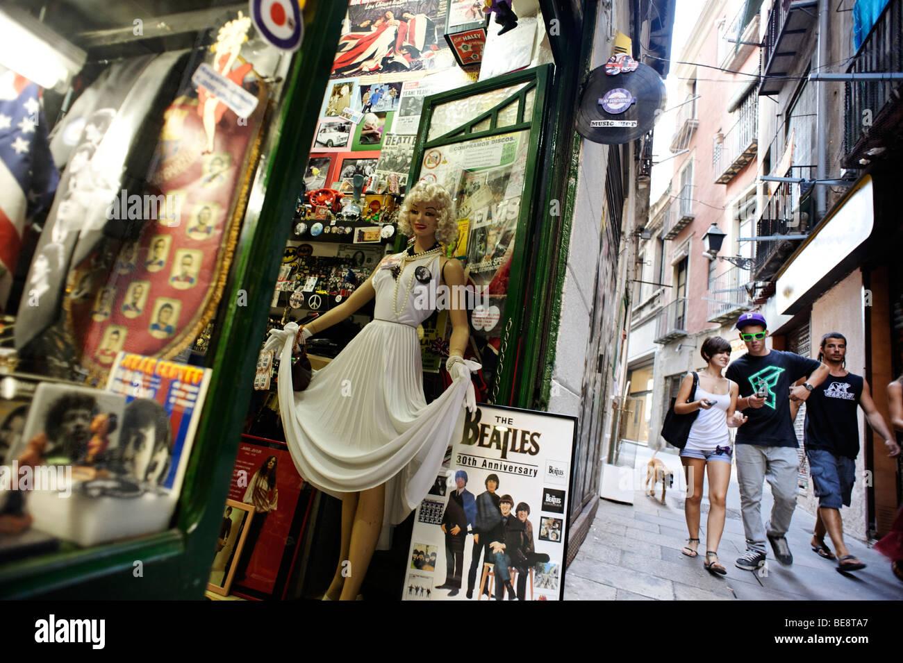 Hip boutique record store selling memorabilia. Barri Gotic. Barcelona. Spain - Stock Image