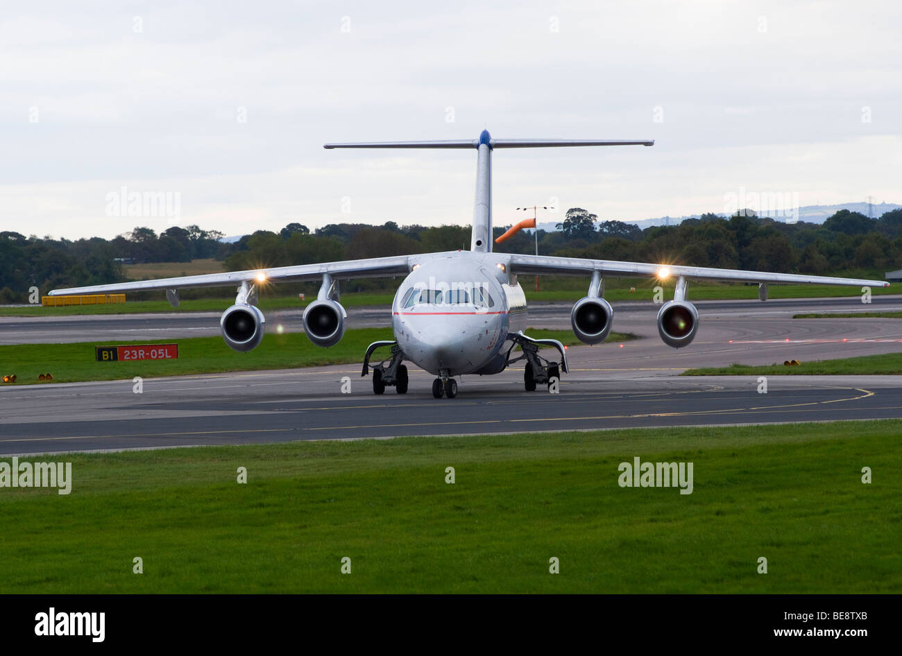 Brussels Airlines Avro RJ85 BAe 146 Jet Airliner Taxiing at Manchester Ringway Airport After Landing England United - Stock Image