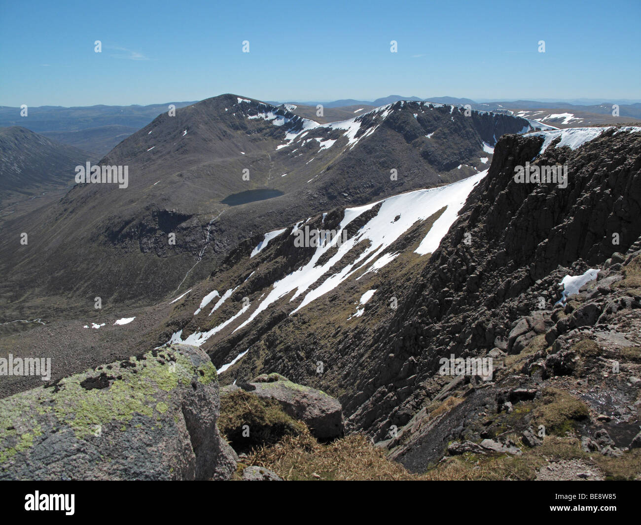 Looking south east from Braeriach to Cairn Toul and Sgor an Lochain Uaine - Stock Image