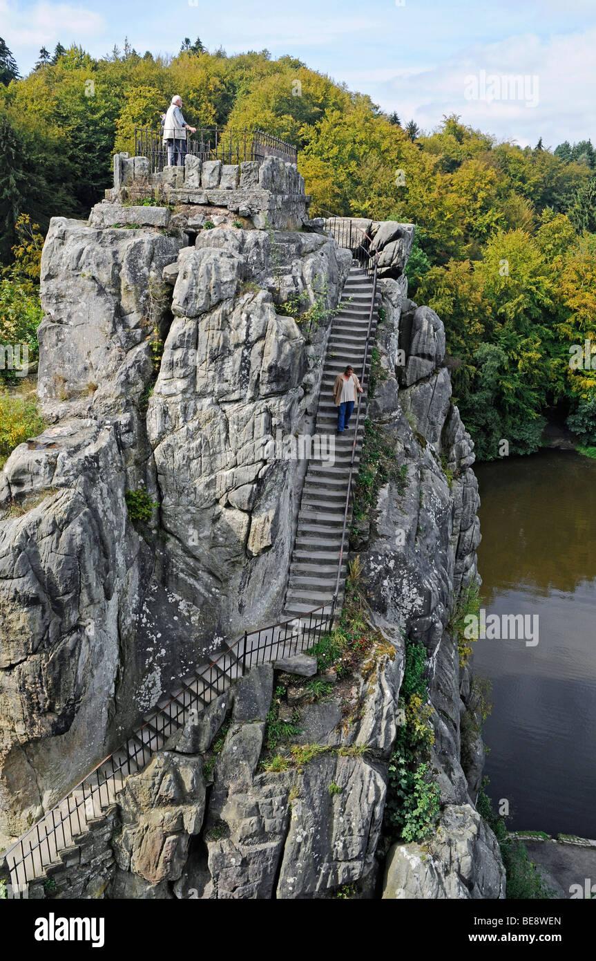 Externsteine sandstone rock formation, nature reserve, Horn Bad Meinberg, Teutoburg Forest, Kreis Lippe district, Stock Photo