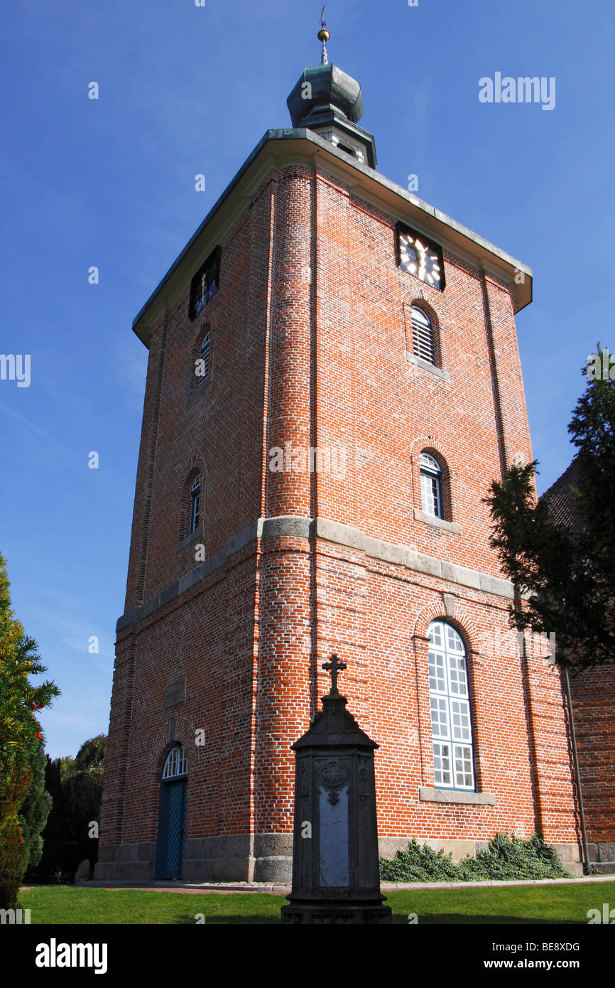 Spire of the protestant church in Schoenberg, Probstei, Ploen district, Schleswig-Holstein, Germany, Europe - Stock Image