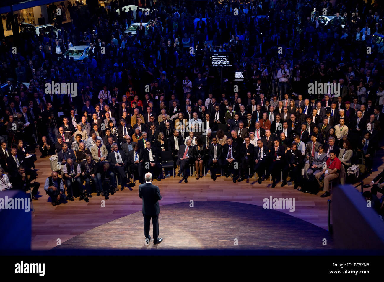 Dieter Zetsche talks at the Mercedes press launch at a European motor show - Stock Image