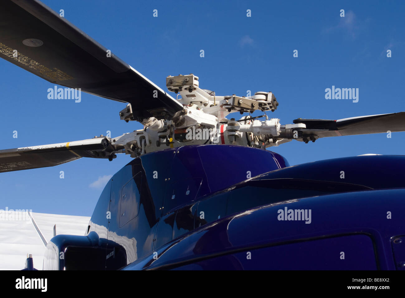 Gearbox and Rotor Blade Assembly of Sikorsky S-76C+ Helicopter G-BYOM at helitech Trade Show Duxford England United - Stock Image