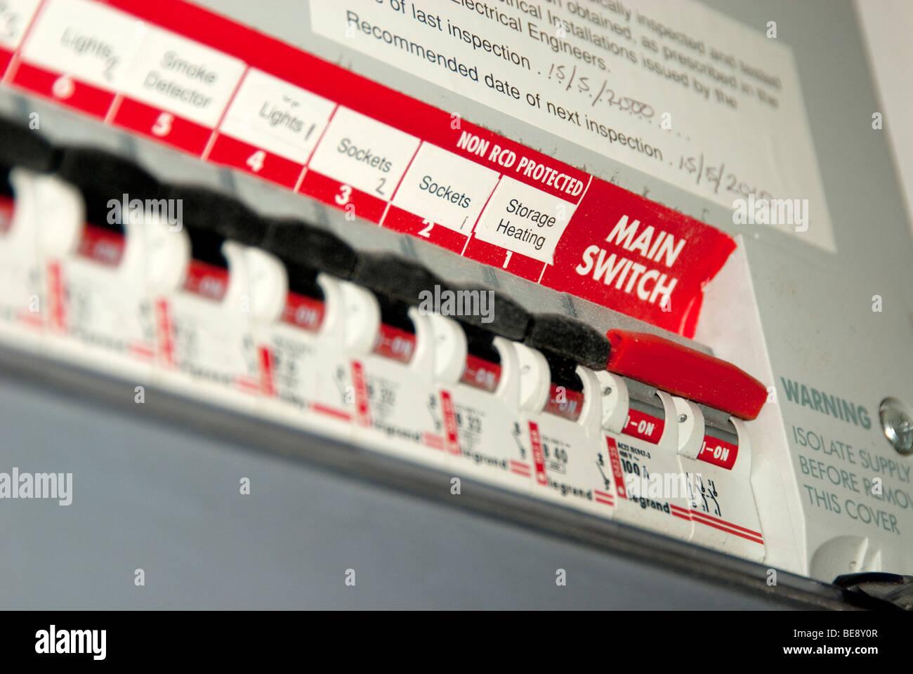 mains switch box - Stock Image