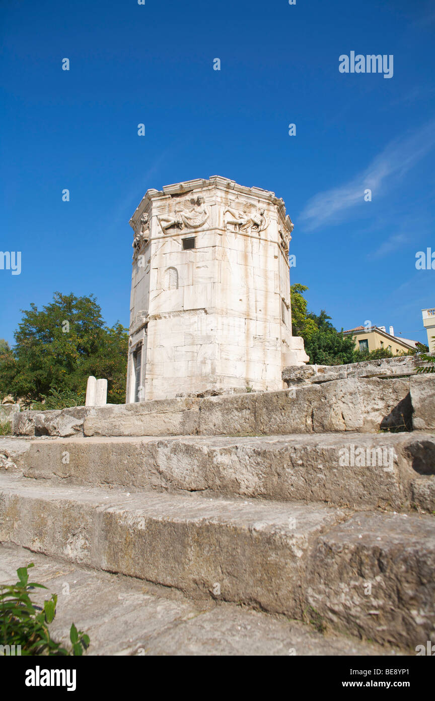 Tower of Winds in the Roman Agora in Athens built by the astronomer Andronicus ans is octagonal in shape Stock Photo