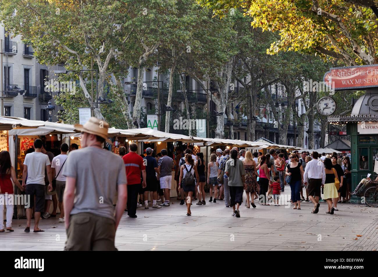 Artisan crafts market on Las Ramblas. Barcelona. Spain - Stock Image