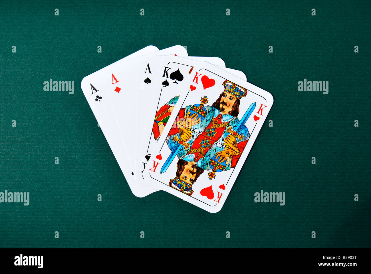 Playing cards, poker, full house - Stock Image