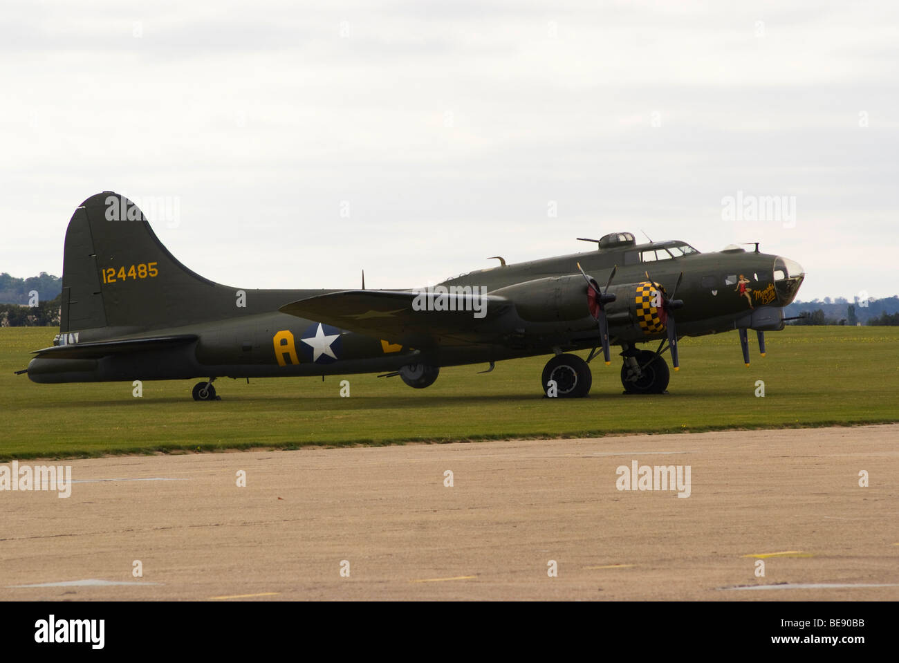 Boeing B-17G Flying Fortress Bomber Aircraft Memphis Belle 124485 on Apron at IWM Duxford Aerodrome England United Stock Photo