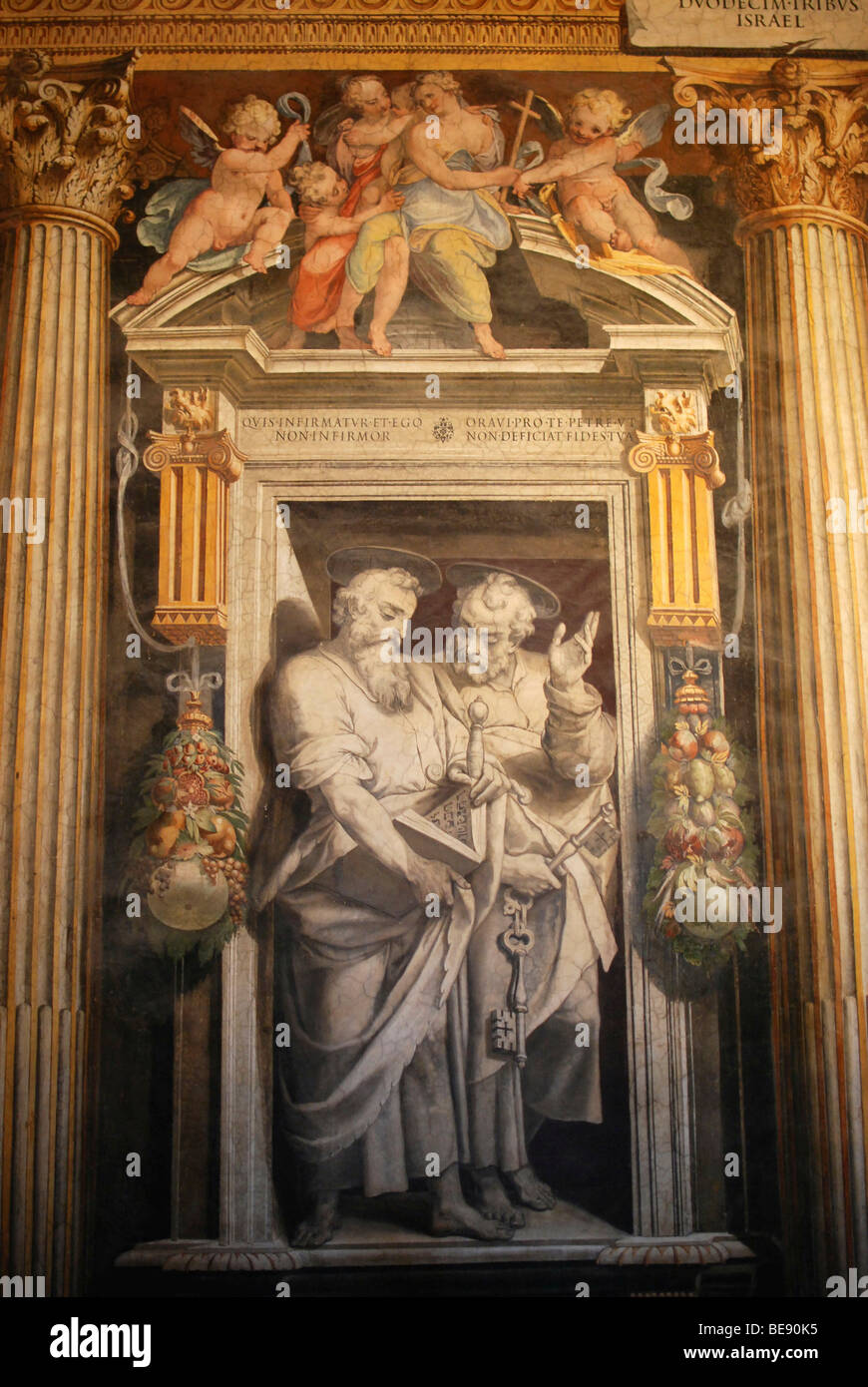 Detail, painting, chiaroscuro room, Vatican chambers, Vatican Museums, Old Town, Vatican City, Italy, Europe - Stock Image