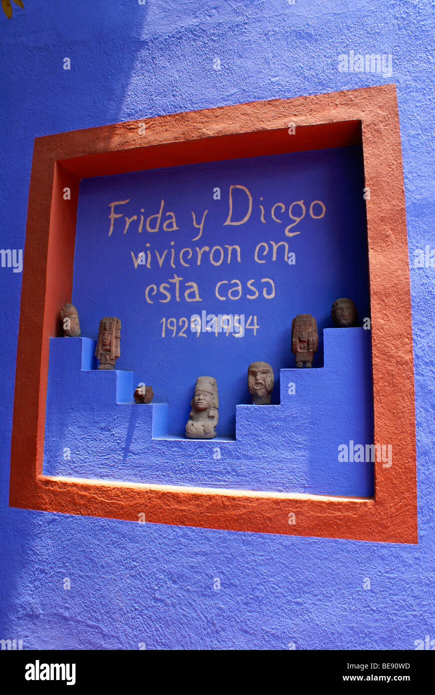 Sign inside the Museo Frida Kahlo, also known as the Casa Azul, or Blue house, Coyoacan, Mexico City - Stock Image