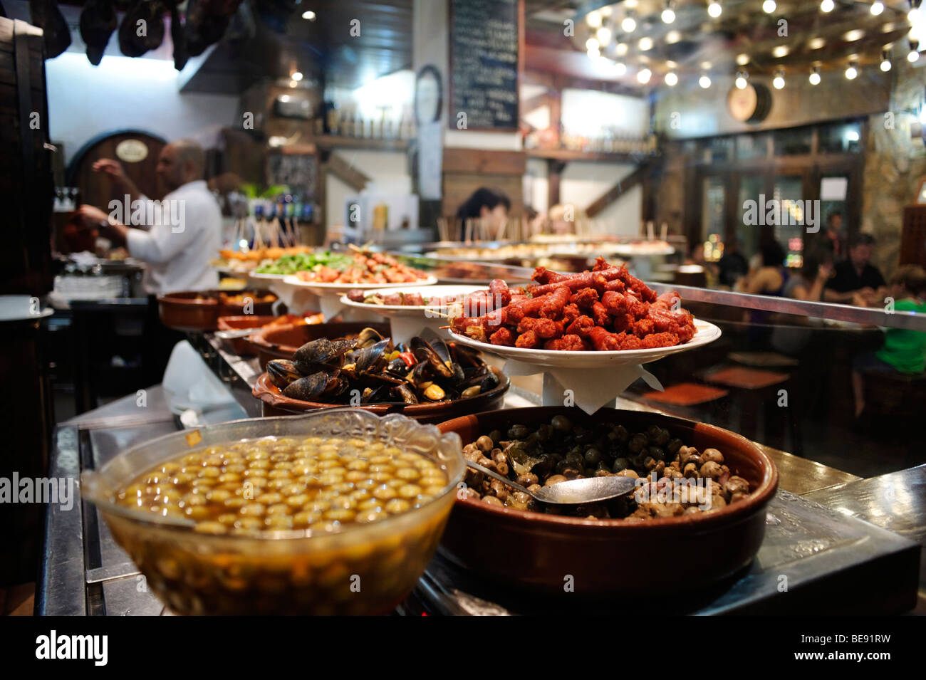 Selection of tapas in a bar. Barri Gotic. Barcelona. Spain - Stock Image