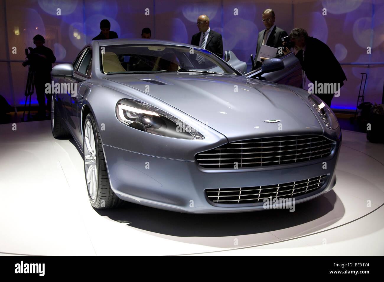Aston Martin Rapide at a European motor show - Stock Image